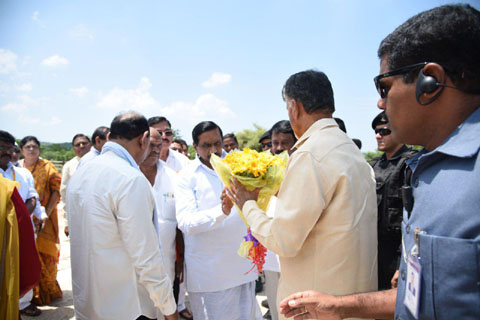 welcoming hon'ble CM at Helepad on 14-9-2018 at Sunnipenta, Srisailam, Kurnool District